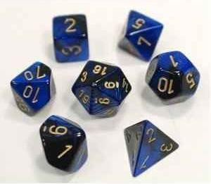 Chessex: Gemini Black-Blue/Gold 7-Die Set - CHX26435