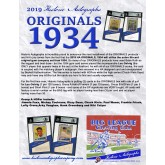 2019 Historic Autographs Originals 1934